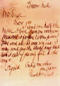 Carta dirigida a George Lusk por Jack el Destripador